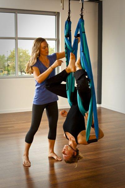 Emily Seymour aero yoga demo