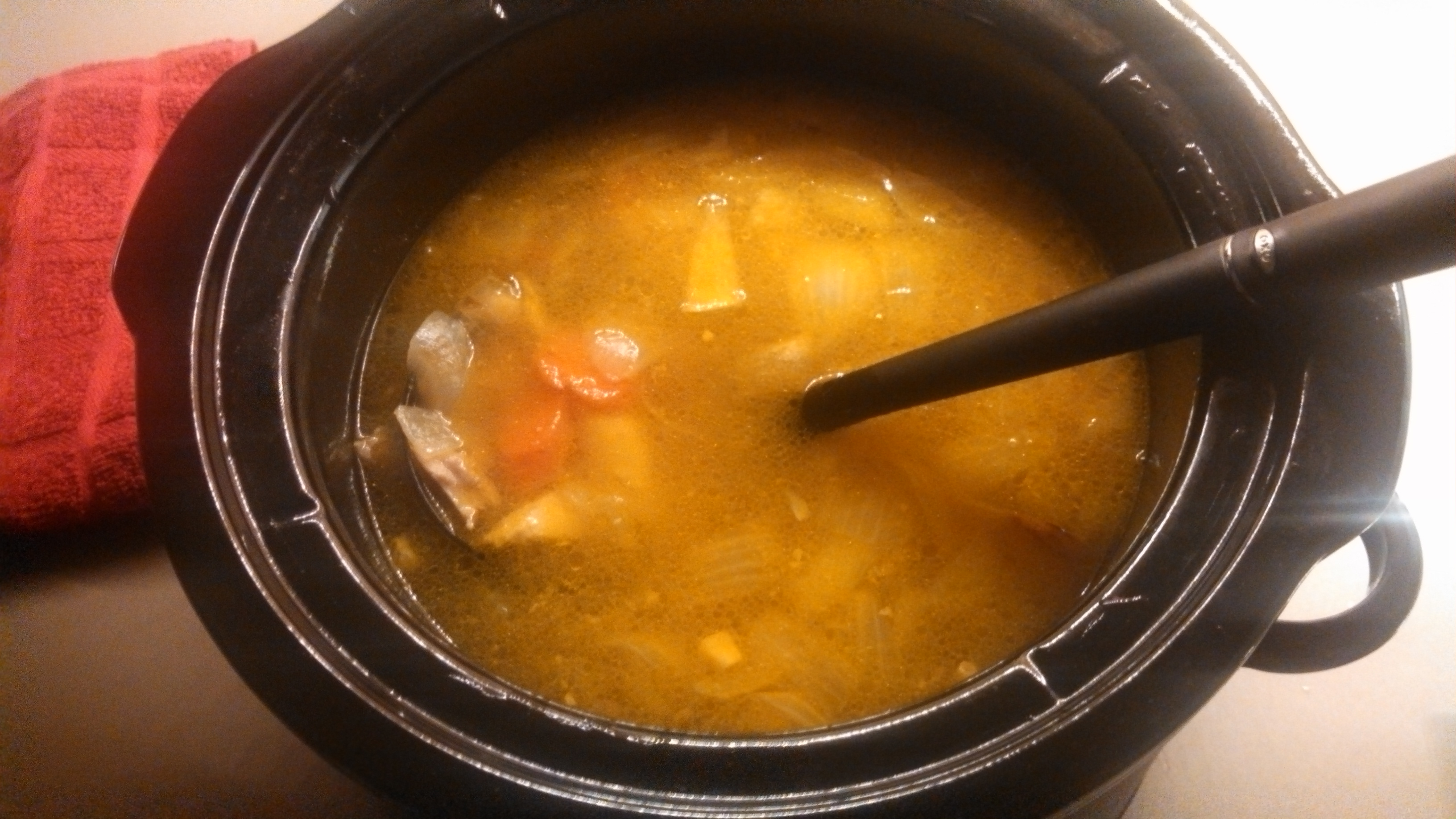 Homemade bone broth soup