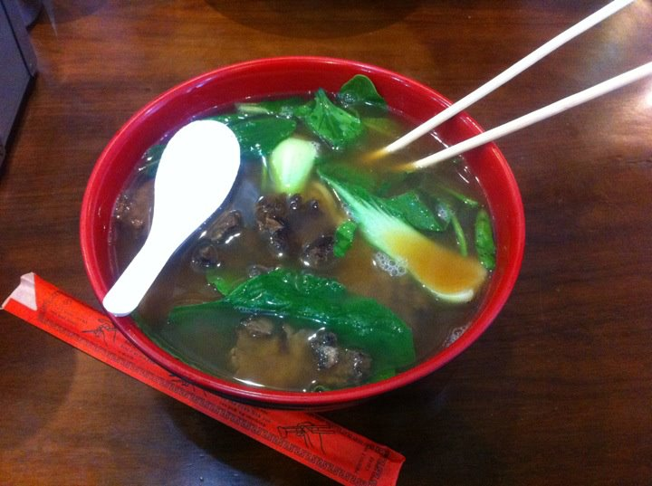 Bone broth beef noodle soup