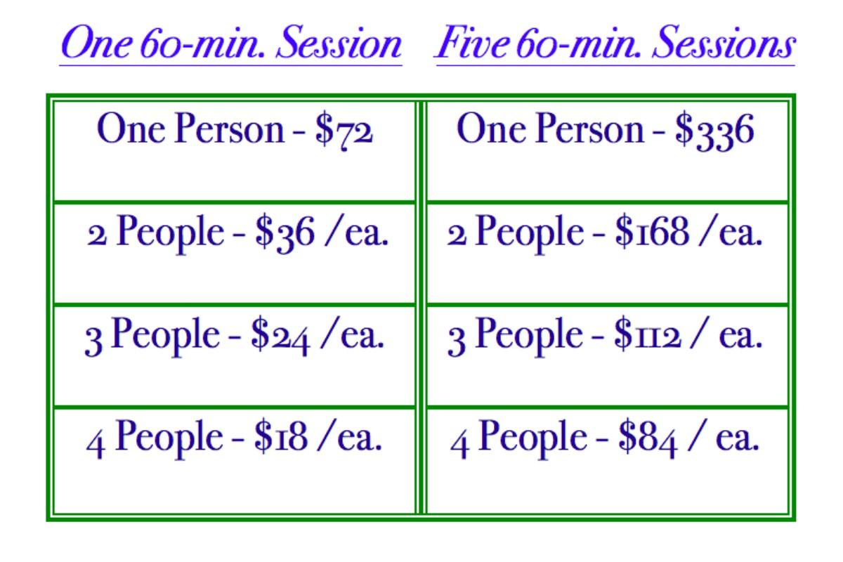 Parker Colorado Personal Yoga Pricing