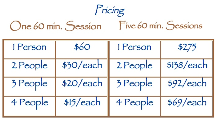 Personal yoga training program session prices for individuals and small groups